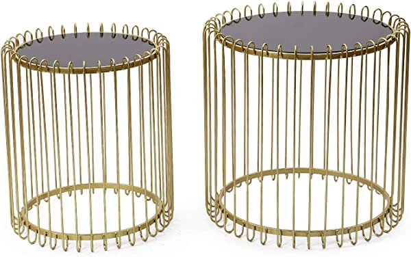 Adeco FT0256 Gold Decorative Nesting Round Side Accent Plant Stand Chair For Bedroom Living Room And Patio Set Of 2 End Tables Gold Black Glass