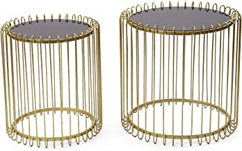 Adeco Decorative Nesting Round Side End Accent Table Plant Stand Chair for Bedroom, Living Room and Patio, Set of 2 (Gold,Black Glass)