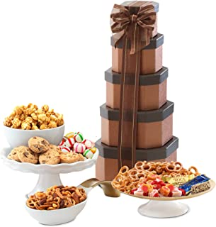 Broadway Basketeers Gift Tower of Sweets, Perfect Gift For Father's Day, Corporate Gifts, Birthdays, And More!
