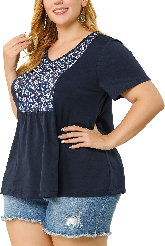 Agnes Orinda Plus Size T Shirts for Women V Neck Floral Print Colorblock Peplum Work T Shirt