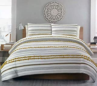 Urban Studio 3pc Duvet Set Yellow Gray Stripes and Tufts on White 100% Cotton Luxury Comforter Cover Shams Set - Mandy Texture, Grey (Full/Queen)