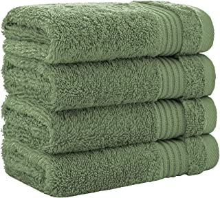 Luxury Turkish Cotton Washcloths for Easy Care, Extra Soft and Absorbent, Fingertip Towels, 4 Pack Washcloth Set by United Home Textile, Sage Green