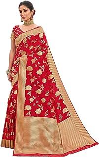 Royal party wedding indian woman red Bridal Silk Saree with gold border & Rich Pallu Sari Blouse 6304