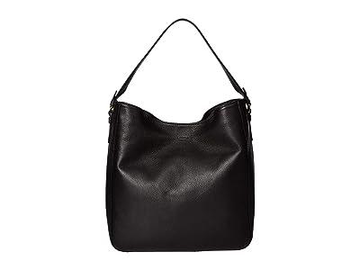 Shinola Detroit Gibson Hobo Pebble Grain Leather MG (Black) Handbags