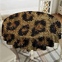 ScottDecor Reusable Round Tablecloth Psychedelic Leopard Motif with Digital Dots and Trippy Forms Graphic Art Apricot Dark Brown Wrinkle Free Tablecloths Diameter 54
