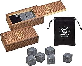 WOMA Whisky Steine Set - 6 & 12 Eiswürfel wiederverwendbar aus Basalt mit Samtbeutel und hochwertiger Holzbox - Whiskey St...