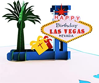 iGifts And Cards Unique Happy Birthday Blue Cover Las Vegas 3D Pop Up Greeting Card - Fun, Special Occasion, Congratulations, Celebration, Feliz Cumpleaños, Best Friend, Cute, Sin City, Famous, Unique