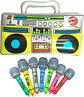 "19755d1c71753 GuassLee 16"" Party Inflatable Boom Box PVC Radio + 2 Microphones Inflatable  Props 80s Party"