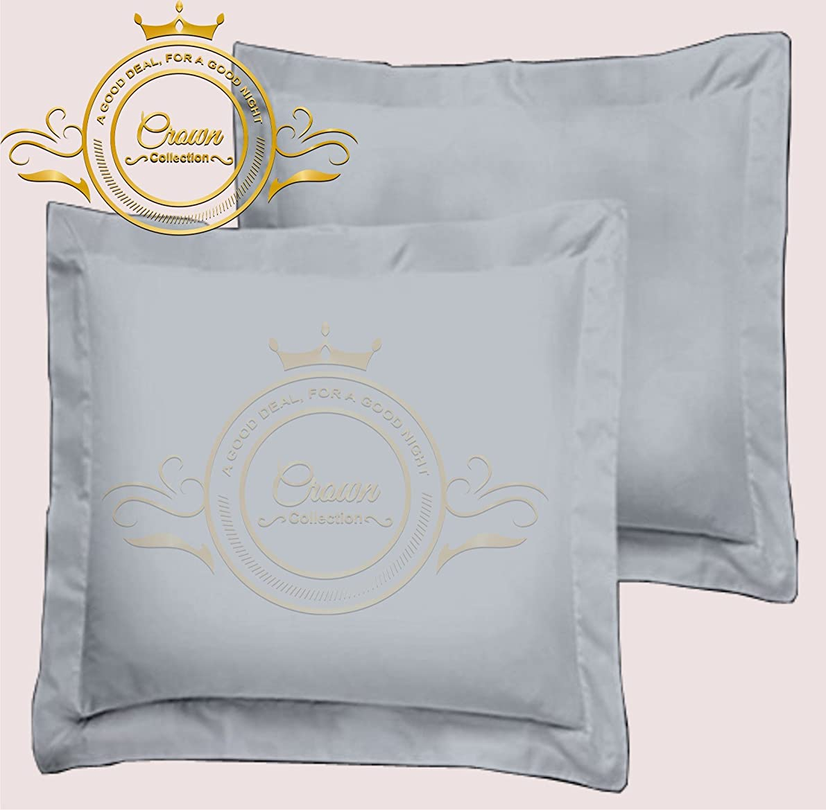 Crown Collection American Size Set of 2pcs Pillow Case 650 Thread Count Euro 26x26 Inch Size Export Quality Silver/Light Gray Solid Egyptian Cotton