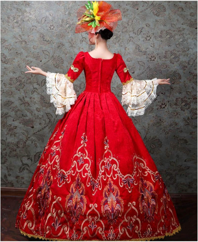 QAQBDBCKL Masquerade Red Embroidery Court Medieval Dress Renaissance Dress Queen Victorian Marie Belle Ball Drama Ball Gown