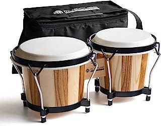 "MUSICUBE Bongo Drums برای بزرگسالان حرفه ای 6 ""و 7"" قابل تنظیم دستی Bongo Drum ساز کوبه ای با تنظیم آچار و کیسه ذخیره سازی (پوست طبیعی)"