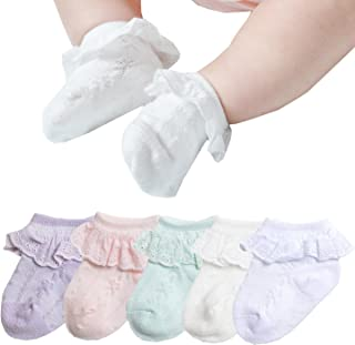 Epeius Baby-Girls Eyelet Frilly Lace Socks,Newborn/Infant/Toddler/Little Girls (Pack of 2/3/4/6)