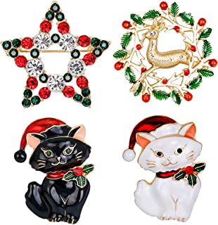 PunkStyle 4 Pack Multi-Colored Austrian Crystal Lovely Jewelry Red Merry Christmas Pin Charm Brooch