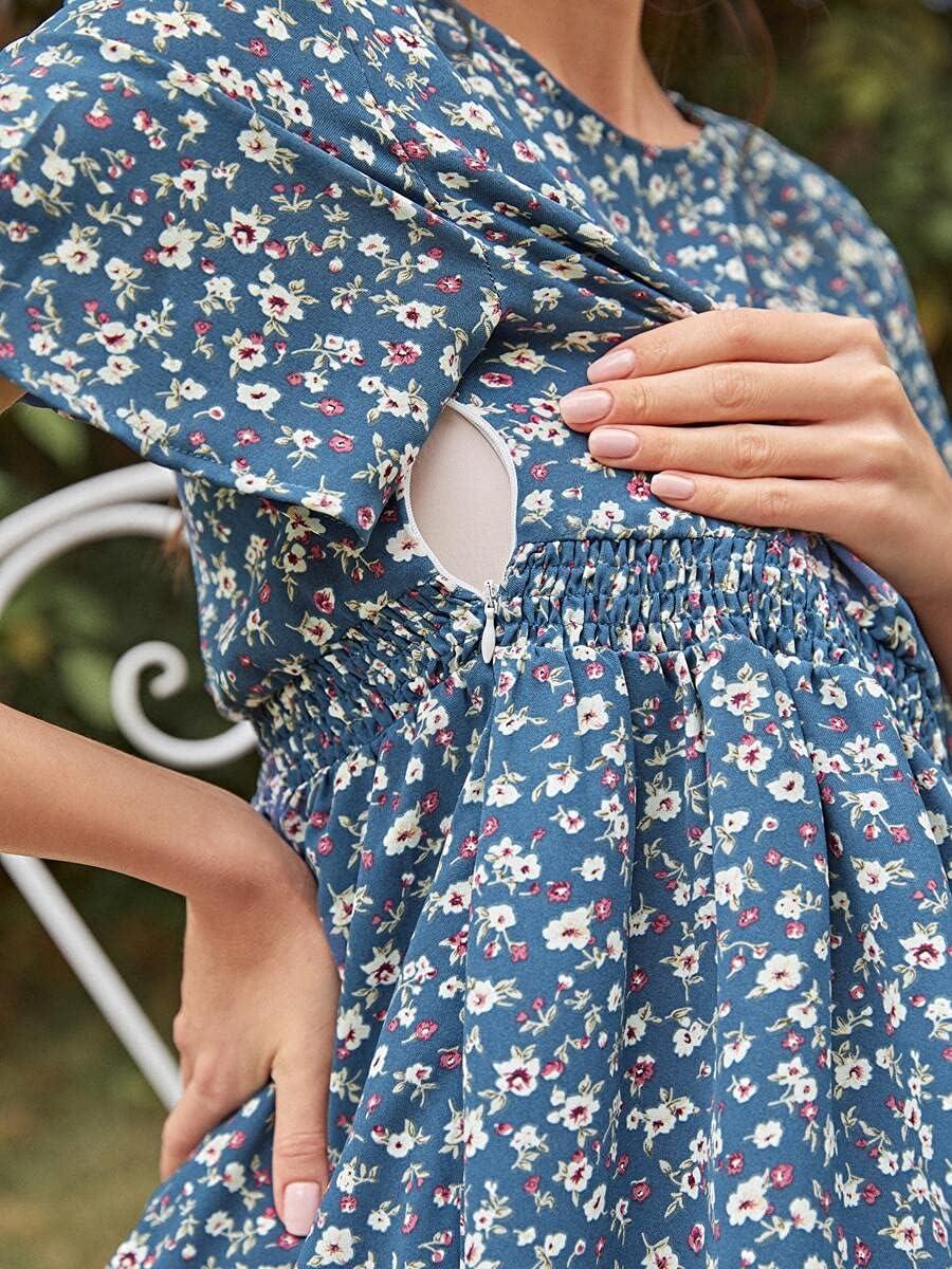 Shreem85 Maternity Dress Cheap mail order shopping Ditsy Department store Shir Side Floral Zipper