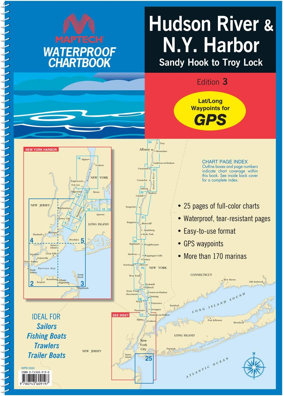 MAPTECH Hudson River Waterproof Chartbook: Hudson River and New York Harbor