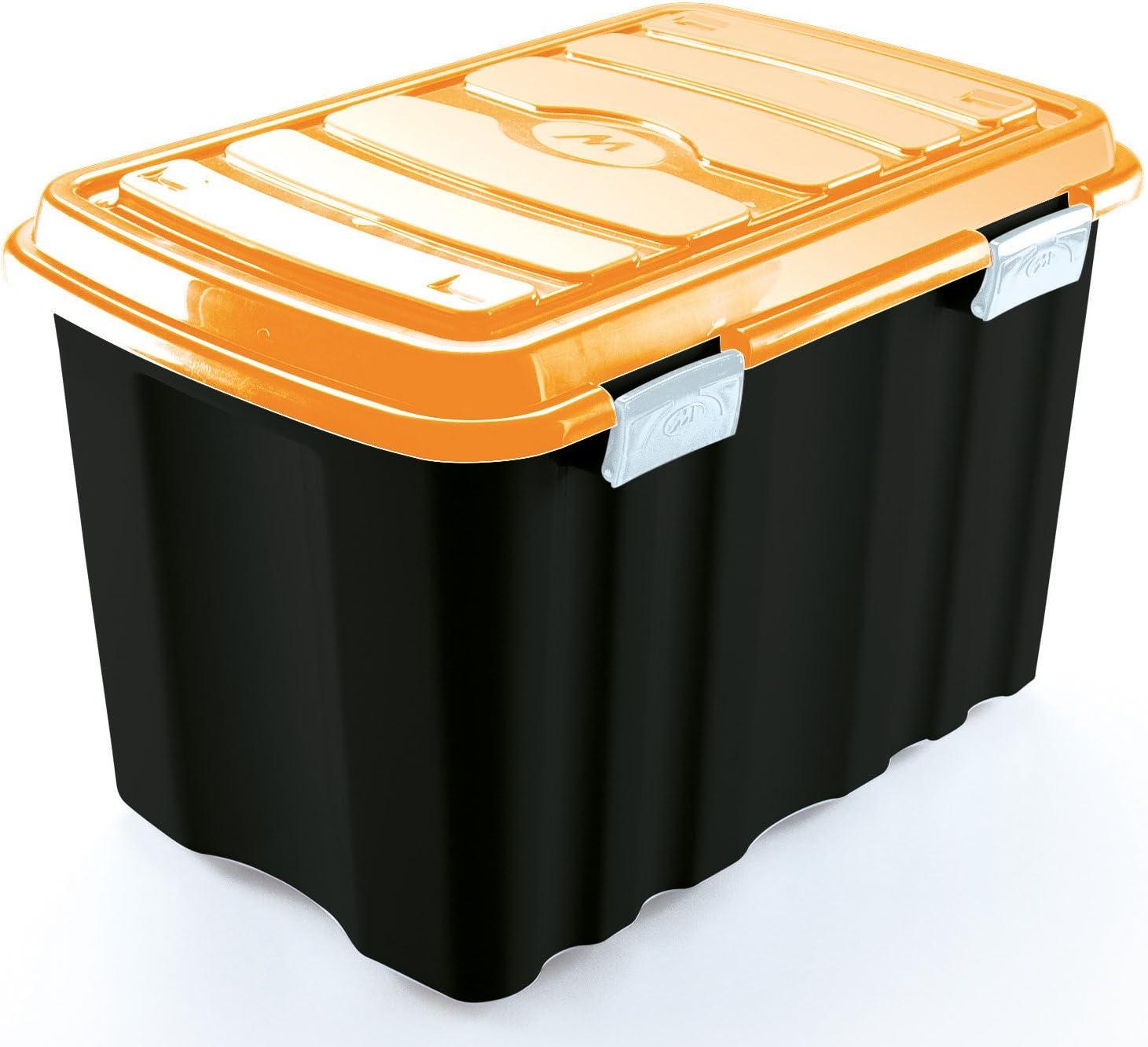 M-Home Box with Lid, Black and Orange, 54L    60 cm x 39,5 cm x 38 cm