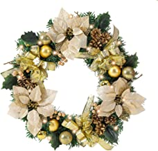 vannyster Pre-lit 22 inch Gold Christmas Wreath for Front Door with Lights, Spruce, Ribbon Bows, Pine Cones, Berries, Chri...