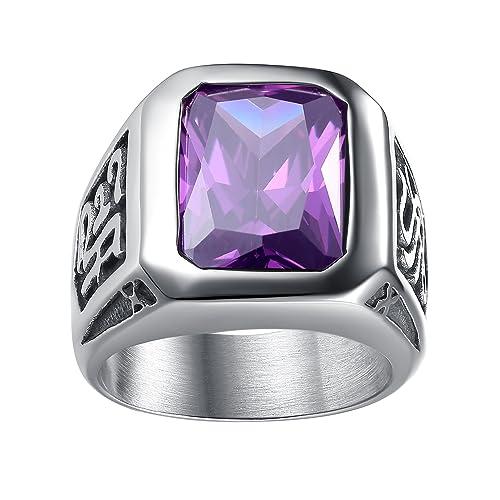 37fc88745 LineAve Men's Stainless Steel Vintage Purple Crystal Ring