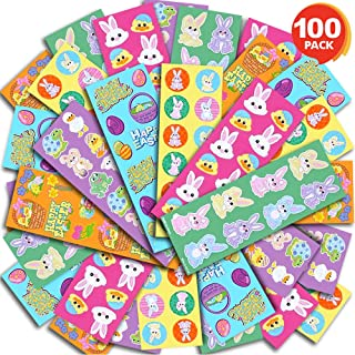 ArtCreativity Assorted Easter Stickers for Kids - 100 Sheets with Over 1000 Stickers - Assorted Vibrant Colors and Designs - Cute Surprise Toys, Egg Hunt Supplies, Party Favors for Boys and Girls