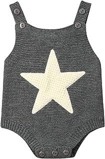 الوليد الطفل بوي فتاة محبوك رومبير الرضع بذلة أكمام تتسابق القلب ستار ارتداءها الملابس (Color : Gray, Kid Size : 3M)