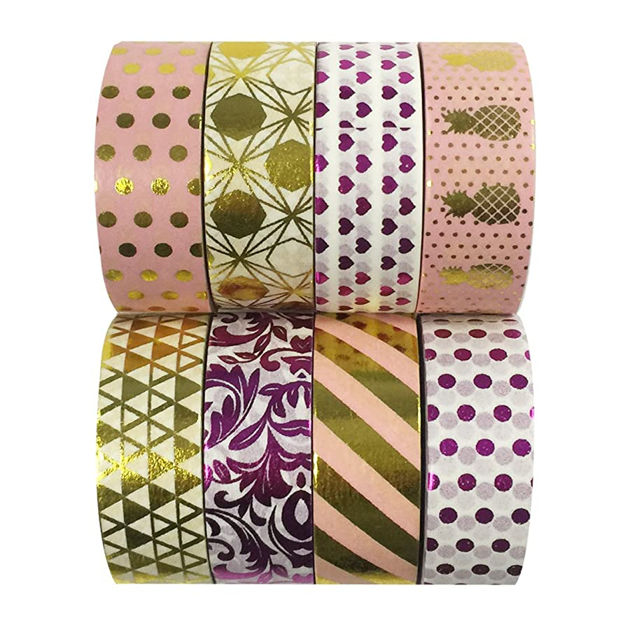 Wrapables Metallic Foil Washi Masking Tape Collection (Set of 8), 08WPSET06