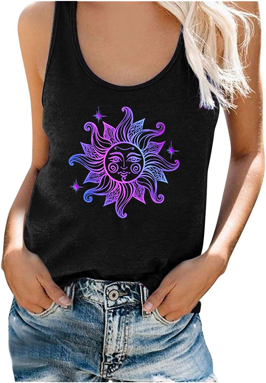 Women Tank Tops,Fashion Women's Casual Summer Printed O Neck Sleeveless Workout Blouse T-Shirt Top Tank Soft Camisoles Tee