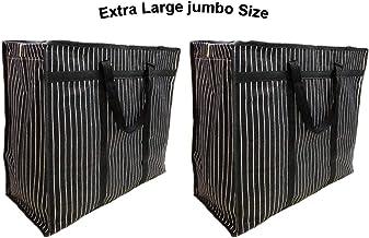sanjis enterprises Canvas Reusable Shopper Bag (Set of 2) (Black_Extra_Large_Size_Black)