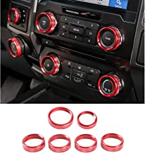 JOIN-WIT Inner Air Conditioner & Audio & Trailer & 4WD Switch Knob Ring Button Cover Trim for Ford F150 XLT 2016 2017 (6pcs Red)