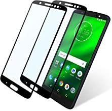 Moto G6 Plus Screen Protector Full Coverage, 2 Pack Niyattn Tempered Glass Screen Protector for Moto G6 Plus 5.9 inch with Double Shielding/Bubble Free/Case Friendly, Black
