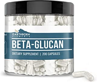 Earthborn Elements Beta Glucan (200 Capsules) 100% Pure & Potent, Naturally Sourced from Yeast, Gluten-Free (820 mg Serving)