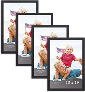 Icona Bay 13x19 Frame (4 Pack, Black), Sturdy Wood Composite Frame, Wall Hang Hooks Included, Black Picture Frames, Liberty Collection