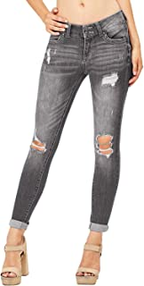 chimikeey Womens Juniors Distressed Stretchy Skinny Denim Ankle Length Jeans Jeggings