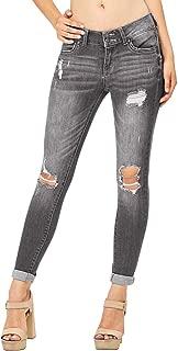 Womens Juniors Distressed Ripped Boyfriend Skinny Denim Ankle Length Jeans