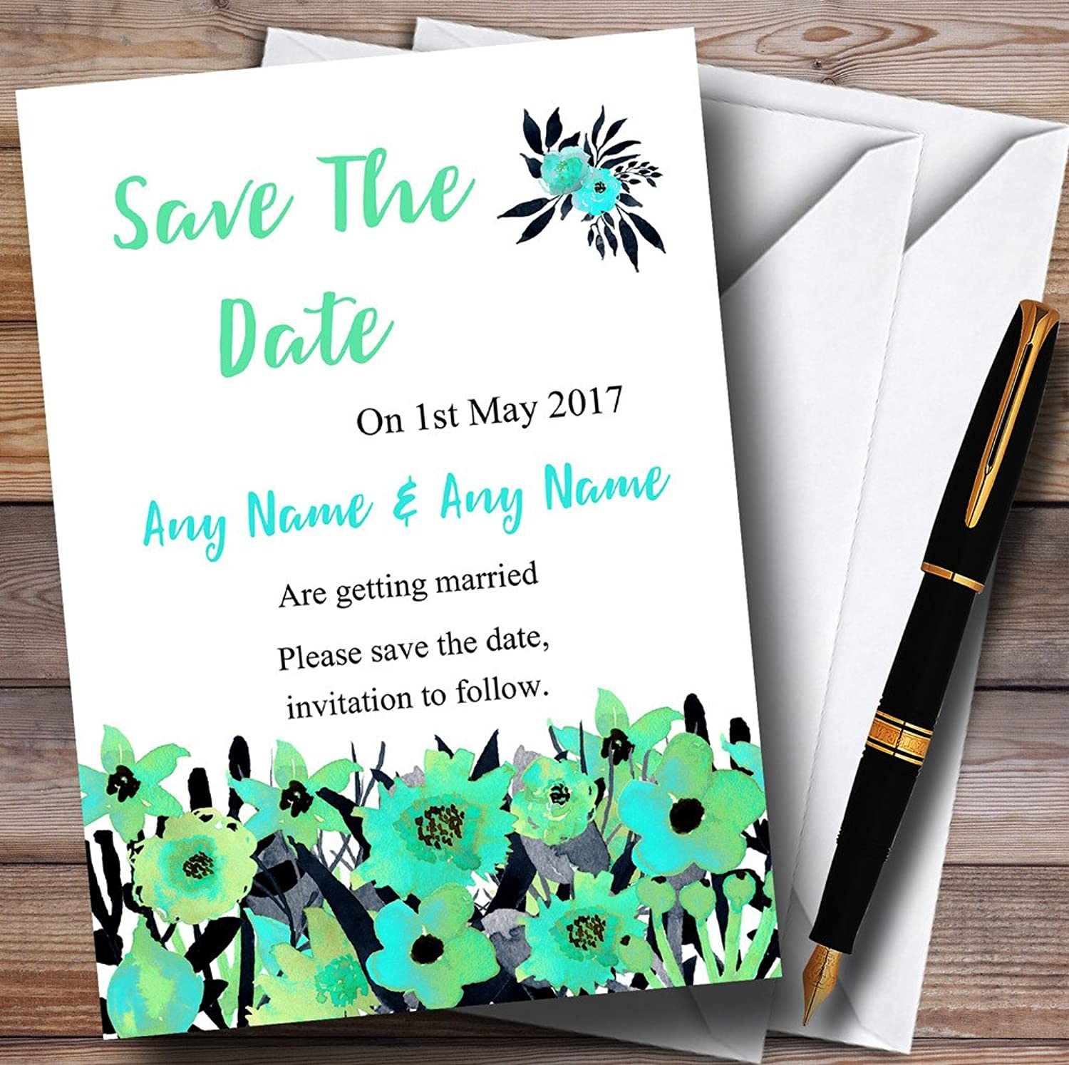 Black & Aqua Mint Green Watercolour Flowers Personalised Wedding Stationery Save The Dat...