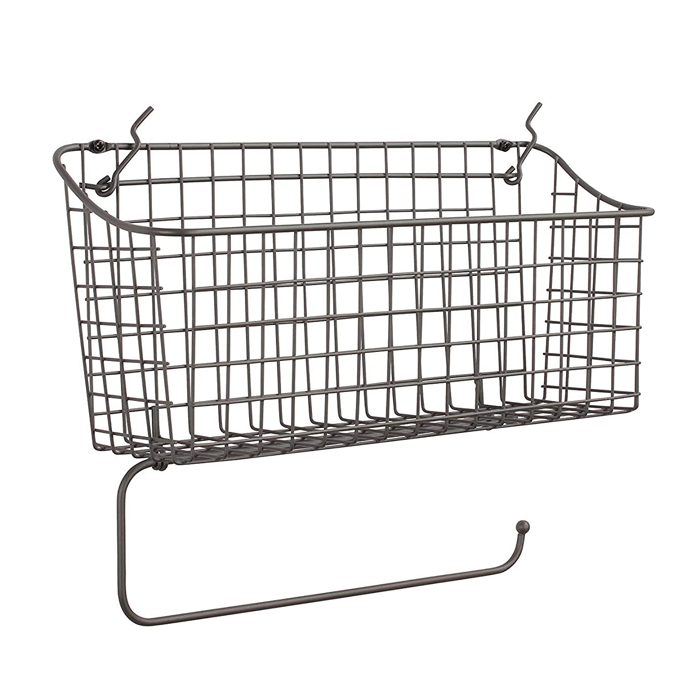 Spectrum Diversified Pegboard/Wall Mount Basket and Paper Towel Holder, Industrial Gray