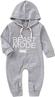 Baby Boy Beast Mode Letters Print Long Sleeve Jumpsuit Baby Hoodies Romper