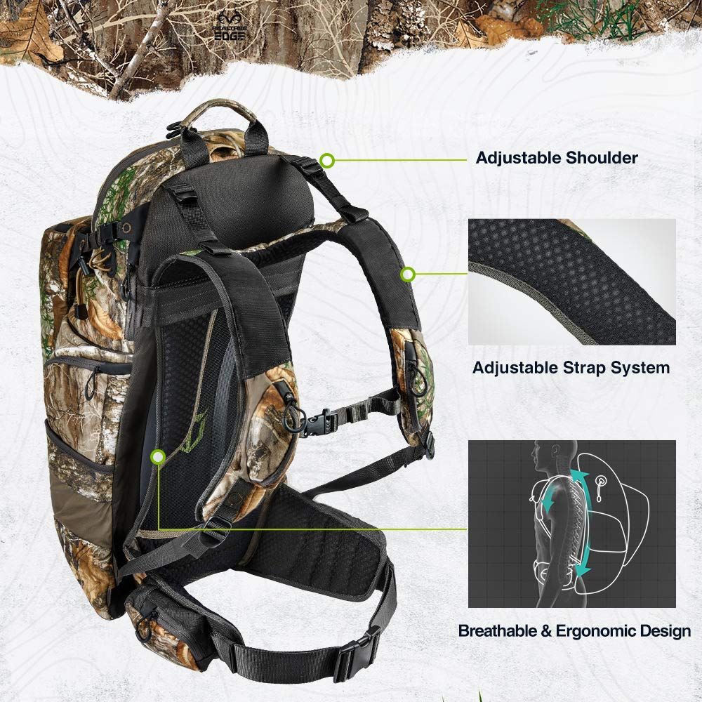 TIDEWE Hunting Pack 3400cu, Silent Frame Hunting Backpack for Bow/Rifle/Pistol