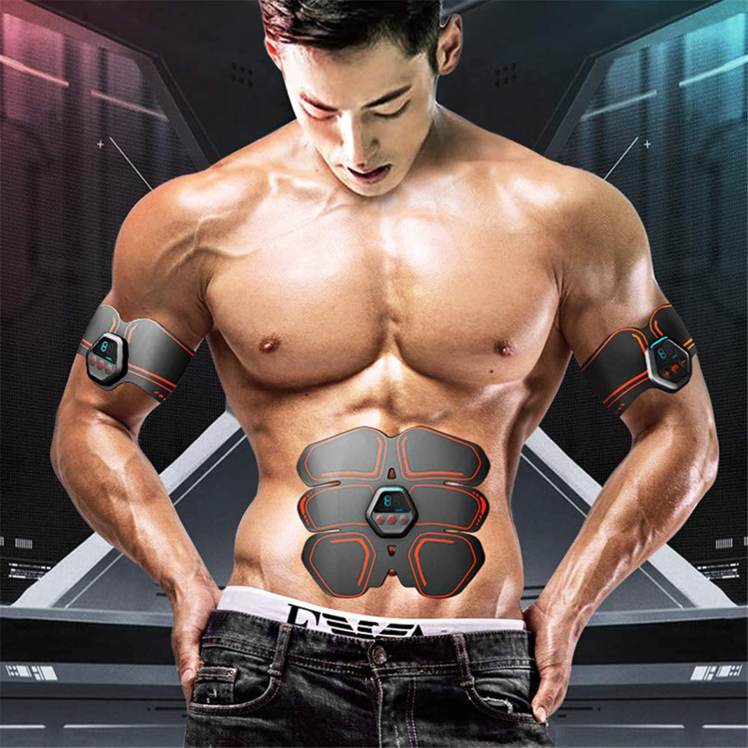 ABS振動筋肉刺激装置、EMS腹部刺激装置、電気筋肉マッサージ、腹部腕用USB充電腹部ベルト脚トレーニング,黒