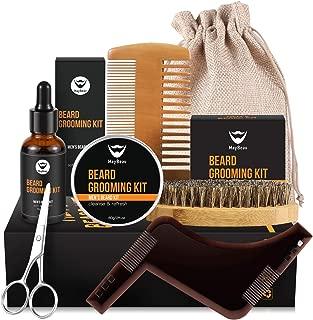 Maybeau Beard Kit for Men, Beard Grooming & Trimming Kit with 2oz Beard Styling Balm, 1oz Beard Oil, Beard Brush, Two-Side Comb, Scissors, Burlap Bag and Unique Beard Shaper for Beard Lovers
