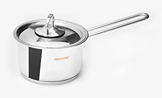 Ybmhome Hascevher Classic Stainless SteelChef'sInduction Compatible Sauce Pot CoveredMulti-Purpose Cookwarewith Encapsulated Base H1 (1 Quart)