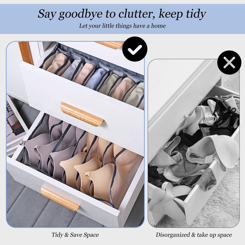 Grey/_3Pcs//Set High Capacity Closet Dividers for Underwear Underwear Drawer Organiser Scarves Socks Foldable Underwear Storage Box Compartment Neck Ties and Handkerchiefs