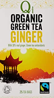 Qi Tea Organic Ginger Green Tea Teabags, 25 Count