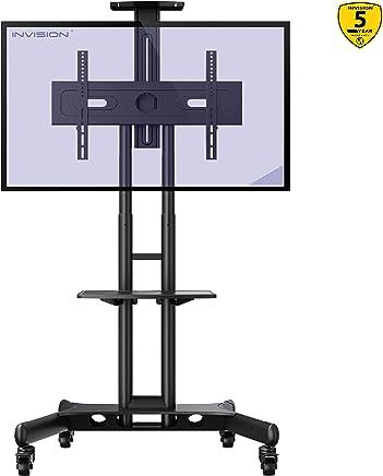 """Invision Supporto TV da Pavimento con Ruote Carrello Staffa Porta Mobile Stand Orientabile Inclinabile per Schermi 32 a 65"""" - Antiribaltamento Ultra-Stabile – Max VESA 600x400mm [GT1200 ScreenStation]"""
