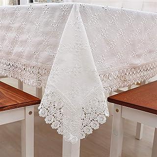 Bilibony Nappes, Nappe en Coton Simple en Dentelle, Tissu De Table De Café Rectangulaire Brodé, Serviette De Couverture De...