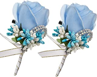 light blue boutonniere