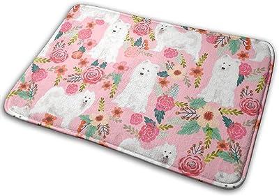 """Samoyed Dogs Floral Dog Design_26145 Doormat Entrance Mat Floor Mat Rug Indoor/Outdoor/Front Door/Bathroom Mats Rubber Non Slip 23.6"""" X 15.8"""""""