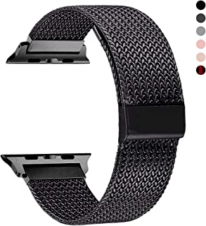 RXCOO Compatible for Watch Band 38mm/40mm 42mm/44mm, Stainless Steel Mesh Wristband Loop Magnet Band Compatible with Iwatch Series 4/3/2/1 (Black, 42mm/44mm)