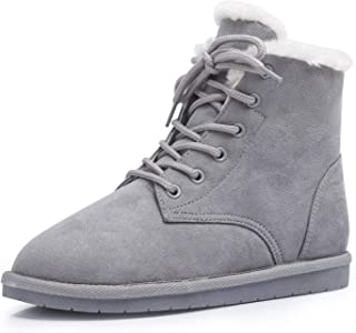 KRABOR Ankle Snow Boots with Warm Fur Work Combat Flat Non-Slip Winter Booties for Women Size 6-11
