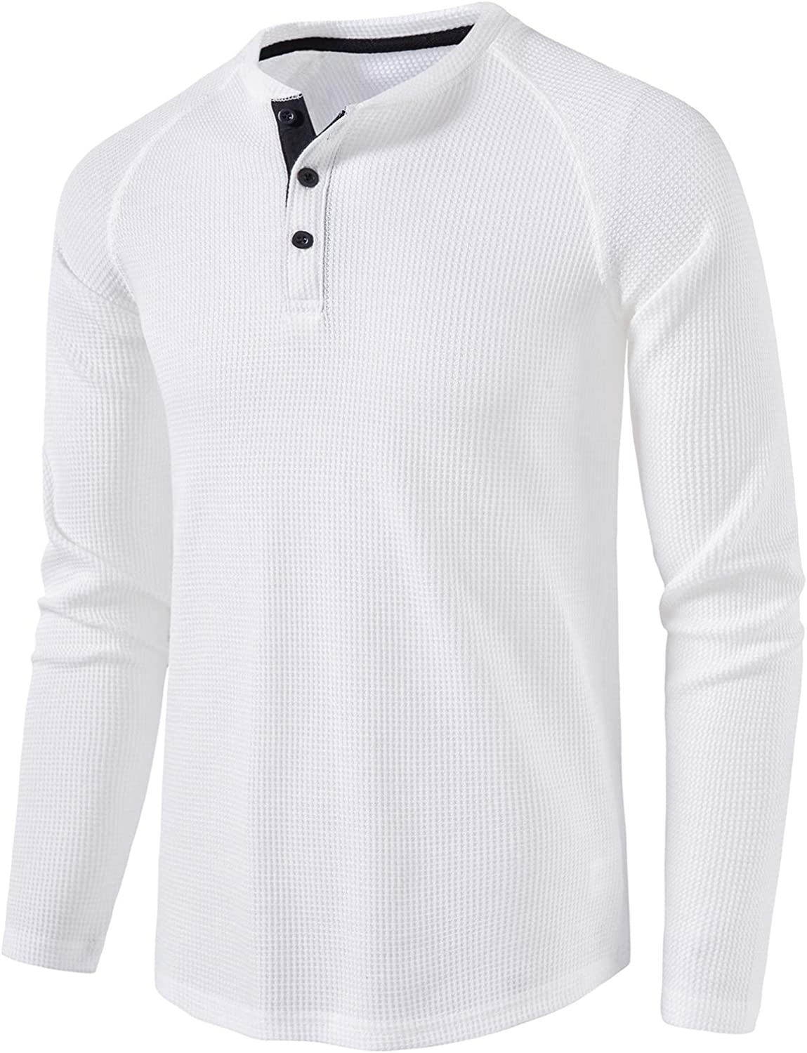 LOCALMODE Mens Casual Crew Neck Long Sleeve T Shirts of Waffle Henley