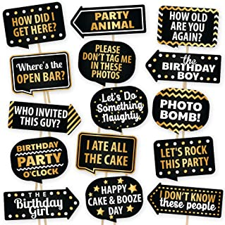 Happy Birthday Photo Booth Props By PartyGraphix - European Made Black And Gold Selfie Props Birthday Decorations - Easy T...